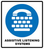Assistive listening systems sign. Medical consultration sign. White icon on blue sign as background. Isolated on white Stock Photos