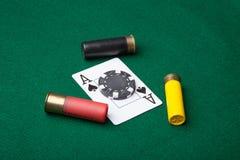Asso di picche con le pallottole Fotografia Stock