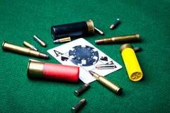 Asso di picche con le pallottole Immagini Stock Libere da Diritti