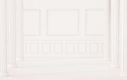 Assoalho clássico e parede interiores, brancos com colunas romanas, 3d rendido ilustração do vetor