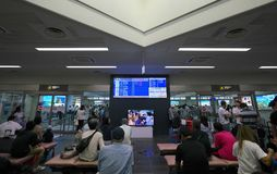 Assoalho da chegada do aeroporto de Miyako foto de stock