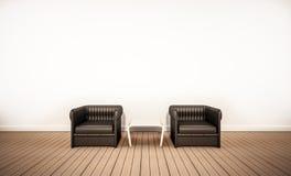 Assoalho da madeira de carvalho e parede branca, com as poltronas de couro pretas, 3d rendido ilustração stock