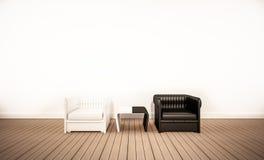 Assoalho da madeira de carvalho e parede branca, com a poltrona preto e branco do contraste, 3d rendido ilustração do vetor