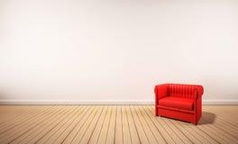 Assoalho da madeira de carvalho e parede branca, com poltrona vermelha, 3d rendido ilustração royalty free