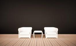 Assoalho da madeira de carvalho e parede preta, com poltronas brancas, 3d rendido ilustração royalty free