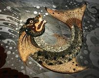 Assoalho de mármore com estilo tailandês do teste padrão dos peixes Foto de Stock