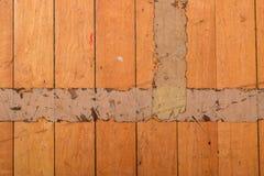 Assoalho de madeira arrastado com fita fotografia de stock royalty free