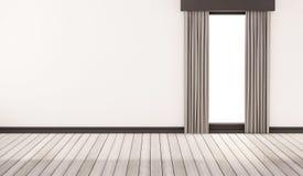 Assoalho de madeira branco com parede e a janela brancas com cortinas, 3d rendido ilustração do vetor