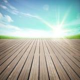 Assoalho de madeira com paisagem bonita Fotografia de Stock