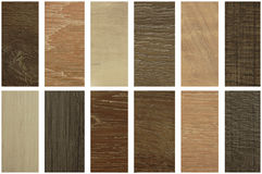 Assoalho de madeira da textura nos quadros, nas amostras de estratificação e no floo do vinil Imagens de Stock Royalty Free