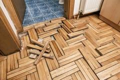 Assoalho de madeira danificado Fotografia de Stock Royalty Free