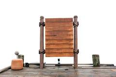 Assoalho de madeira do quadro indicador e da madeira no fundo branco Fotos de Stock Royalty Free