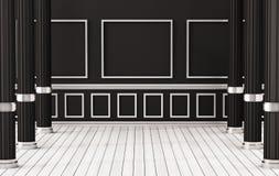 Assoalho de madeira interior, branco clássico e parede preta com colunas romanas, 3d rendido ilustração stock