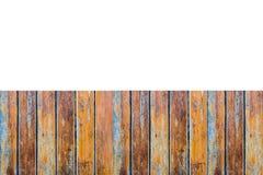 Assoalho de madeira vazio com fundo branco Usando o papel de parede ou o fundo para a cópia espace a imagem imagens de stock