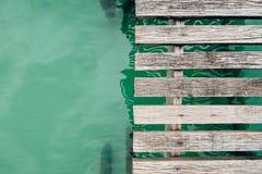 Assoalho de ponte de madeira Fotografia de Stock