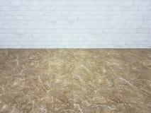 Assoalho de telhas de mármore com fundo da parede de tijolo Imagens de Stock
