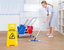 Assoalho feliz da limpeza da empregada doméstica com espanador Foto de Stock Royalty Free