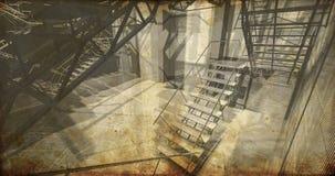Assoalho. Interior industrial moderno, escadas, espaço limpo no indust Fotos de Stock Royalty Free