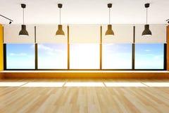 Assoalho vazio da sala e de parquet com as grandes janelas e lâmpadas do teto, rendição 3D Fotografia de Stock Royalty Free