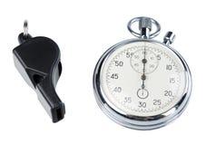 Assobio e cronômetro fotografia de stock