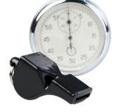 Assobio e cronômetro imagens de stock