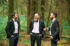 Associé trois réussi pour discuter des affaires actuelles dans une forêt de pin Photo stock
