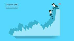 Associé financier d'équipe d'aide de conseiller ou de mentor des affaires jusqu'à la croissance des bénéfices Photos stock