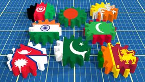 Associação asiática sul para bandeiras dos membros da cooperação regional nas engrenagens Fotos de Stock