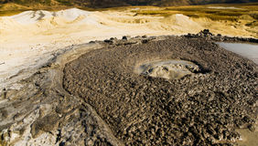 Associação ativa do vulcão da lama Fotografia de Stock