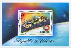 Associação e emblema de Apollo Soyuz foto de stock