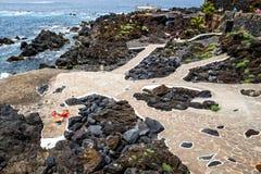 Associações vulcânicas naturais visitadas por turistas em Garachico, ilha de Tenerife, canário, Fotografia de Stock Royalty Free