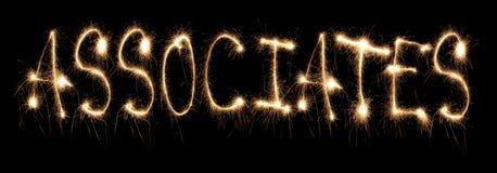 Associados da palavra escritos o sparkler Imagens de Stock