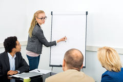 Associate Explaining Diagram On Filpchart To Colleagues. Female Junior Associate explaining diagram on filpchart to colleagues in conference room royalty free stock photography