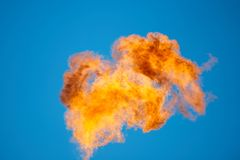 Combustion of associated petroleum gas. Royalty Free Stock Photos