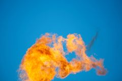 Combustion of associated petroleum gas. Royalty Free Stock Photo
