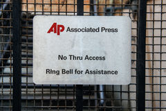 Associated Press door entrance with AP logo and message to ring Stock Images