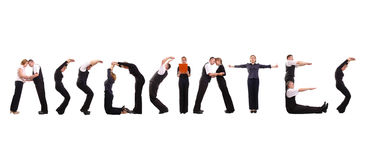 Associates. Young business people forming associates word over white Royalty Free Stock Photography