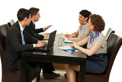 Associates having discussion. Associates having conversation at meeting over white background Royalty Free Stock Photography