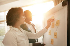Associates working together drawing on flipchart Stock Photo