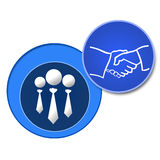 Association. An image describing association with user icons and hand shake vector illustration