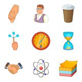 Association icons set, cartoon style. Association icons set. Cartoon set of 9 association vector icons for web isolated on white background Royalty Free Stock Image