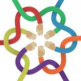 Association several intertwined multicolored hands flat style Stock Photos