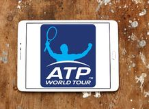 Association of Tennis Professionals, ATP logo. Logo of Association of Tennis Professionals, ATP on samsung tablet on wooden background Royalty Free Stock Photography