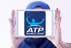 Association of Tennis Professionals, ATP logo. Logo of Association of Tennis Professionals, ATP on samsung tablet holded by arab muslim woman Stock Photos