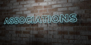 ASSOCIATIONS - Glowing Neon Sign on stonework wall - 3D rendered royalty free stock illustration. Can be used for online banner ads and direct mailers royalty free illustration
