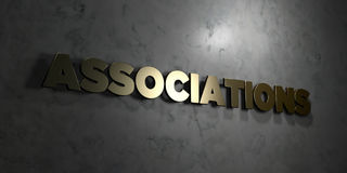 Associations - Gold text on black background - 3D rendered royalty free stock picture. This image can be used for an online website banner ad or a print royalty free illustration