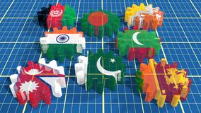 Associazione asiatica del sud per le bandiere dei membri di cooperazione regionale sugli ingranaggi Immagine Stock