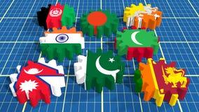 Associazione asiatica del sud per le bandiere dei membri di cooperazione regionale sugli ingranaggi Fotografie Stock