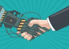 Associazione con un robot Concetto di affari Fotografie Stock