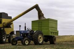 Associazione e trattore del raccolto del grano Immagini Stock Libere da Diritti